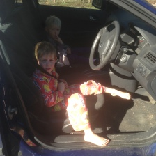 Kids in their pjs in the car... just coz.