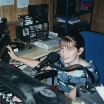 Me, aged about 14 in the studio at Two State FM, Barham, March 2000