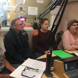 Bob McKinnon, Jason Nahrung, Zoe Werner & myself at Voice FM, Ballarat, May 2019. Photo by Pauline O'Shannessy Dowling.